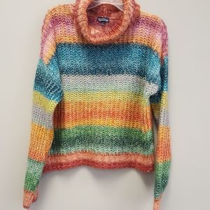 Colorful striped knitted Freshman sweater Sz Lg